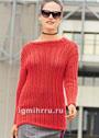 Красный пуловер с ажурной резинкой. Спицы