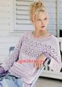 Пуловер цвета мальвы с широкой полосой ажурных ромбов. Спицы