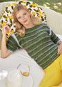 Зеленый пуловер в рельефную полоску. Спицы