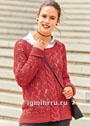 Красный ажурный пуловер с центральной косой. Спицы