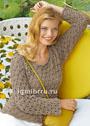 Песочный пуловер с эффектным сквозным узором. Спицы