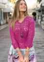 Ярко-розовый ажурный пуловер с рукавами длиной 3/4. Спицы