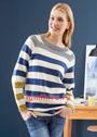 Повседневный пуловер с широкими разноцветными полосами. Спицы