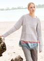 Шерстяной пуловер с рельефными квадратами. Спицы