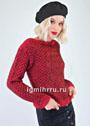 Красно-черный пуловер с фантазийным узором. Спицы