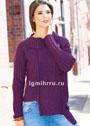 Пуловер баклажанового цвета с шахматными узорами. Спицы