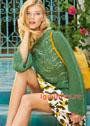 Зеленый пуловер с волнистым узором. Спицы