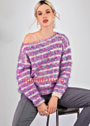 Пуловер с полосатым фантазийным узором. Спицы