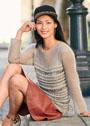 Женственный пуловер из разных видов пряжи. Спицы