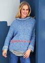 Голубой пуловер с широким воротником. Спицы