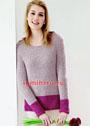 Двухцветный пуловер из полупатентного узора. Спицы