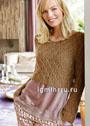 Короткий пуловер с узором из ромбов. Спицы