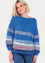 Простой пуловер в синих тонах с полосками. Спицы