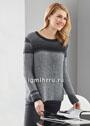 Серо-черный пуловер из полупатентного узора. Спицы