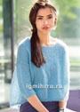 Голубой воздушный пуловер свободного кроя. Спицы