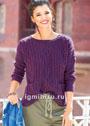Лиловый пуловер с миксом узоров из кос. Спицы