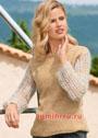 Шерстяной пуловер с мохеровыми ажурными рукавами. Спицы