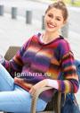 Разноцветный теплый пуловер с внешними швами. Спицы