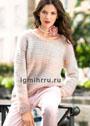 Женственный светлый пуловер с узором в рубчик. Спицы