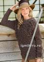 Коричневый пуловер с вплетенной бахромой. Спицы