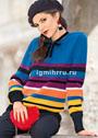 Пуловер в полоску в стиле колор-блок. Спицы