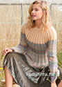 Мягкий теплый пуловер с кокеткой, полностью связанный резинкой. Спицы