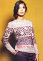 Теплый пуловер с жаккардовым узором. Спицы