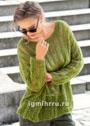 Зеленый мохеровый пуловер oversize. Спицы
