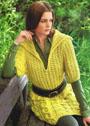 Удлиненный пуловер с косами и патентной резинкой. Спицы