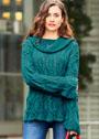 Иссиня-зеленый пуловер с ажурным узором из кос. Спицы