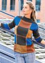 Шерстяной пуловер с цветными клетками. Спицы