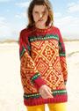 Красочный трехцветный пуловер с жаккардовыми узорами. Спицы