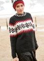 Трехцветный пуловер с узором в перуанском стиле. Спицы