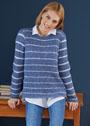 Полосатый пуловер с полупатентным узором. Спицы
