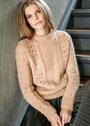 Женственный теплый пуловер с миксом узоров. Спицы
