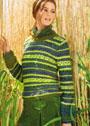 Полосатый пуловер с фантазийным узором. Спицы