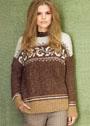 Коричнево-белый пуловер с жаккардовым узором. Спицы