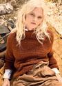 Шерстяной пуловер с рукавами реглан и воротником. Спицы