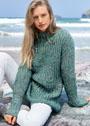Меланжевый пуловер с рельефным узором. Спицы