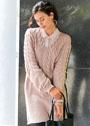 Удлиненный пуловер с узором из кос. Спицы