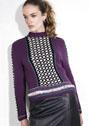 Нарядный шерстяной пуловер с фантазийными узорами. Спицы
