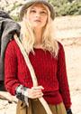 Красный пуловер с узором из снятых петель. Спицы