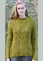 Шерстяной пуловер с миксом ажурных узоров. Спицы