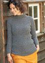 Шерстяной пуловер со смещенным узором резинки. Спицы