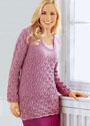 Удлиненный шерстяной пуловер с узором из ромбов. Спицы
