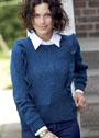 Синий пуловер с вертикальными рюшами. Спицы