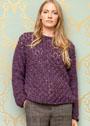 Теплый меланжевый пуловер с ажурным узором. Спицы