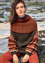 Теплый пуловер с рукавами буф и круглой кокеткой. Спицы