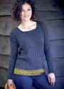 Пуловер с греческим орнаментом Меандр. Спицы