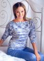Сине-белый пуловер с вырезом лодочка. Спицы